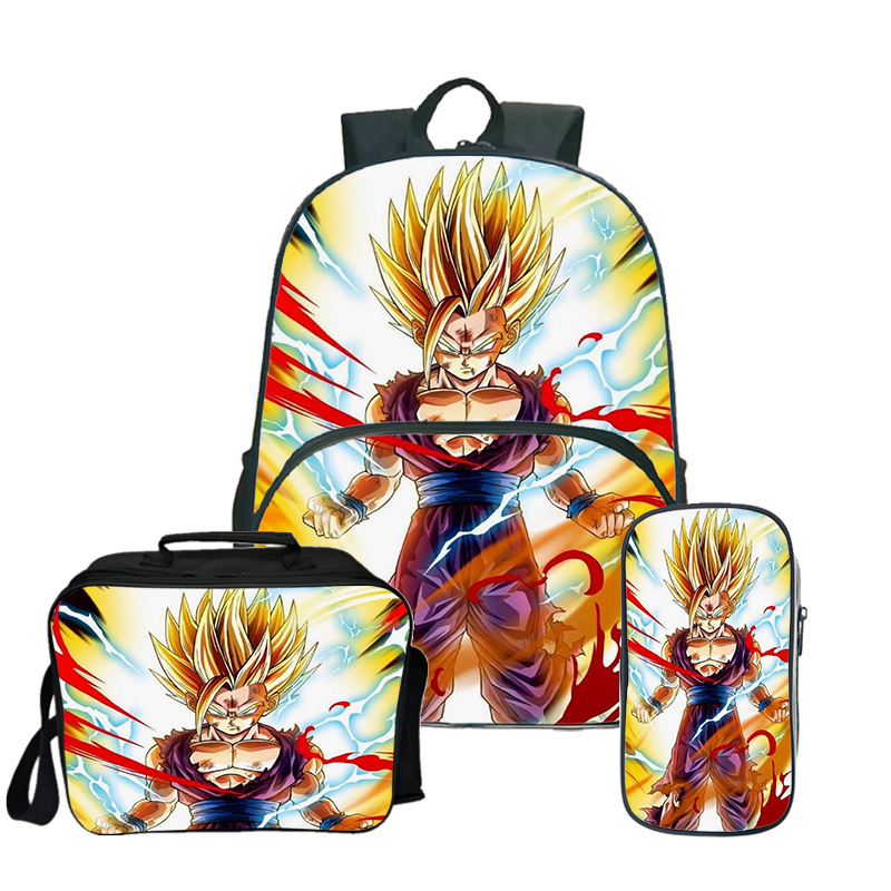 Dragon Ball Z GOKU Teenager Travel School Backpack Lunch Tote Pen Case Wholesale