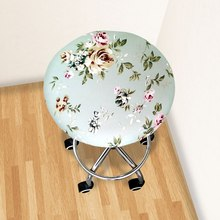 Round Chair Cover Bar Stool Cover Elastic Seat Cover Home Chair Slipcover Round Chair Bar Stool Floral Printed 2020 colorful famille rose ceramic round seat stool