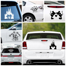 цена на Car Stickers Mickey Minnie decal laptop Decals For jeep car Sticker Decor Large Bear Car Accessories