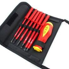 7 stücke Isolierte Schraubendreher-set Magnet Tipps Isolierte Elektriker der VDE 1000V Hand Werkzeug Öffnung Reparatur Precision Tool Set