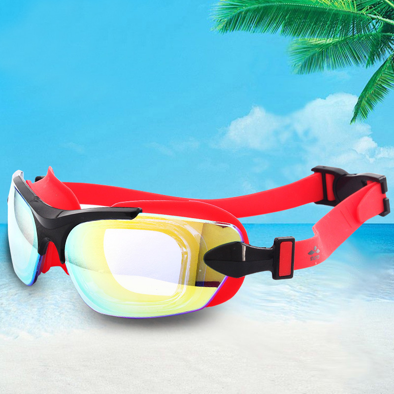 Adult Swimming Glasses Women's Learning Plain Glass Goggles Waterproof Anti-fog Electron Gun Swimming Glasses For Both Men And W