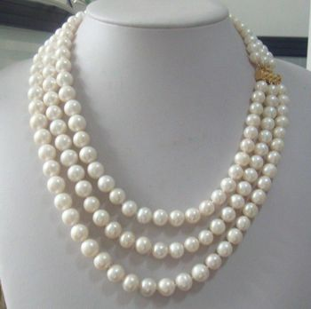 """triple strands 9-10mm south sea white natural pearl necklace 18-22"""" clasp"""