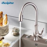 Cuisine évier robinet mitigeur Chrome robinets tirer sur cuisine robinet 360 pivotant eau mélangeur robinet monotrou mélangeur d'eau robinets