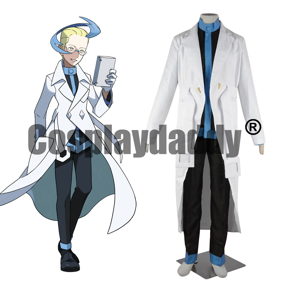 Pokemon Pocket Monsters Black and White Versions 2 Best Wishes Team Plasma Colress Uniform Outfit Game Cosplay Costume F006 image