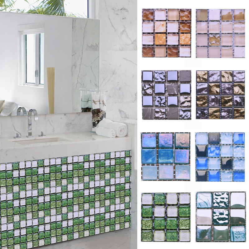 10pcs Waterproof Mosaic Wall Sticker 10*10cm Self Adhesive 3D PVC Tile Sticker Decal For Home Bathroom Kitchen Wall Decoration.8