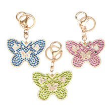 3Pcs Kids Early Education Fun Learning Toys For Children DIY Butterfly 5D Diamond Painting KeyRing Key Chain Pendant Gift W917(China)