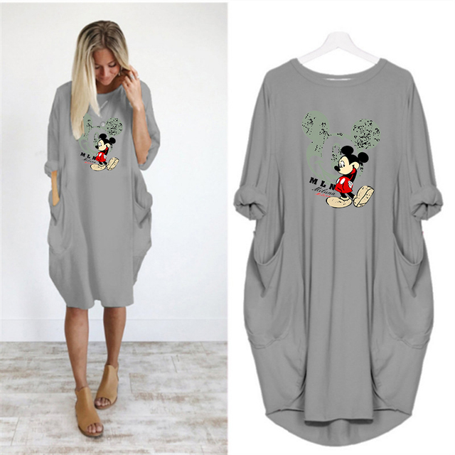2020 Dress Women Printing Pocket Loose Dresses Vintage Fall Cartoon Midi Woman Party Casual Dresses Women Plus Size Mini Dress 4