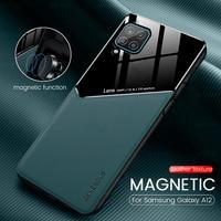 Funda con textura de cuero para samsung a 12, funda magnética de silicona blanda a prueba de golpes para teléfono móvil samsung a12