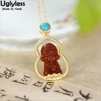 Uglyless Holy Buddhistic Gifts Jewelry Gold Plated 925 Silver Gourd Turquoise Necklaces Women Agate Buddha Pendants+Chain P1075