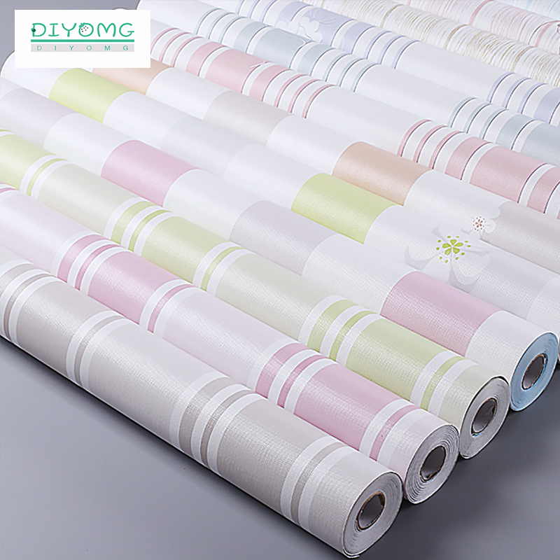 DIYOMG Waterproof Striped Wallpaper For Young Wall Decal Self Adhesive Wall Papers Pastoral Style For Girl Dormitory Home Decor