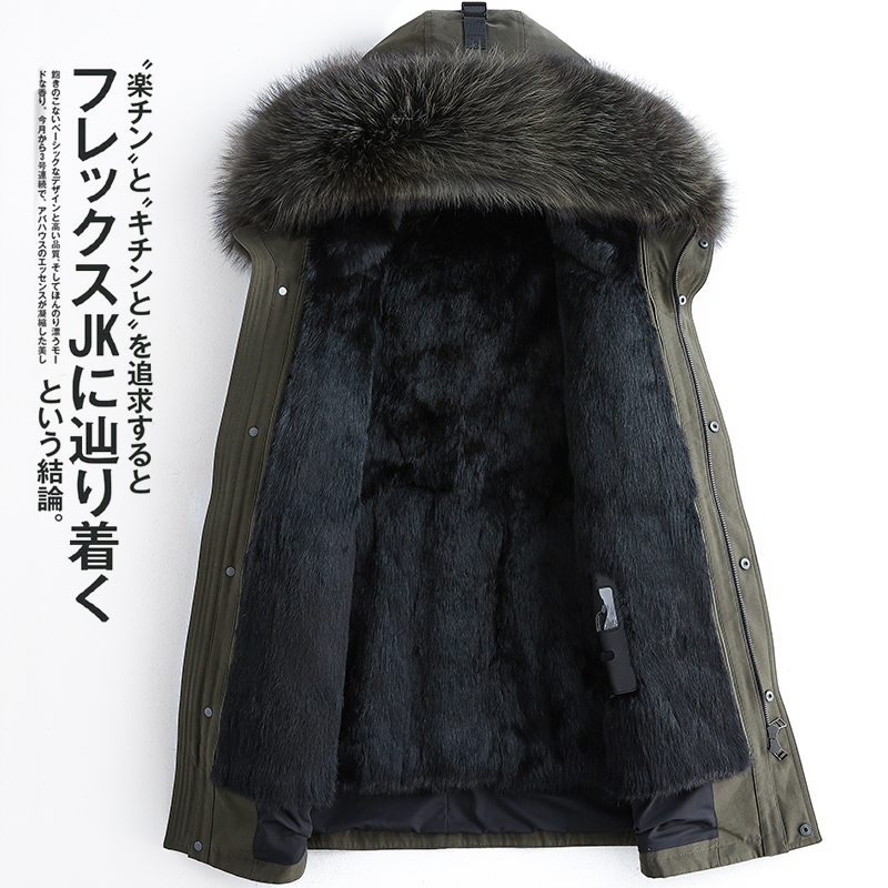 Winter Real Fur Coat Men Clothes 2019 Streetwear Warm Mink Fur Liner Long Jacket Raccoon Fur Hooded Fashion Casacos 103