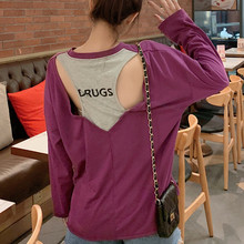 Women T-shirts Letter Graphic T Shirt Casual Loose Back Hollow Out Long Sleeves Tshirt Femal Patchwork Streatwear Tee Tops C353 simple women s hollow out long sleeves t shirt