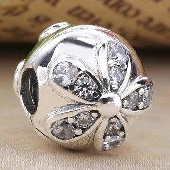 Original flor Margarita de cristal Clip tapón de bloqueo cuenta ajuste cuenta en plata esterlina 925 encanto Pandora pulsera brazalete joyería