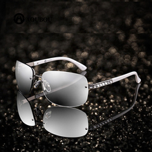 Vintage Rimless Sunglasses Women Luxury Diamond Design White Square Frame Brand With Box Dames