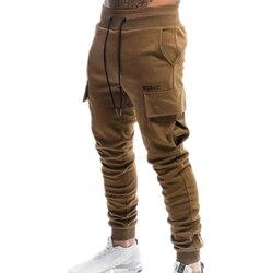 Men Jogger sweatpants male multi-pocket bodybuilding training bodybuilding fitness trousers men's cotton fashion jogging pants