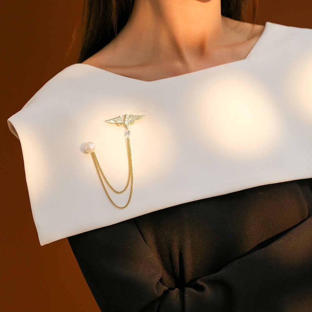 Viennois Aquila Spilla Spilli Nuovo Gioelleria raffinata e alla moda di Colore Dell'oro Lunga Catena Zircone Simulato Perla Per Le Donne