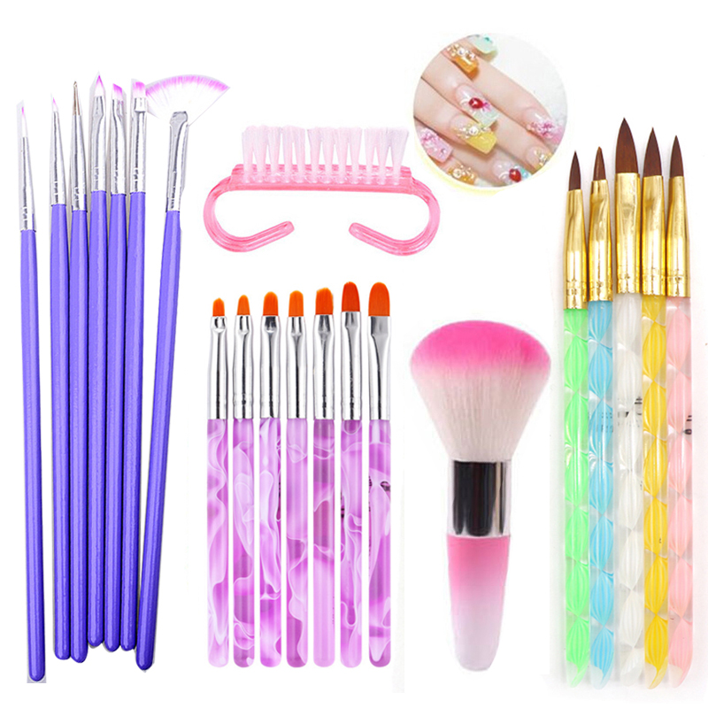 1Set Nail Art Tools Nail Brush Polishing Painting Pencil Crystal Beads Picker Dotting Pen Professional Manicure Pedicure Tool