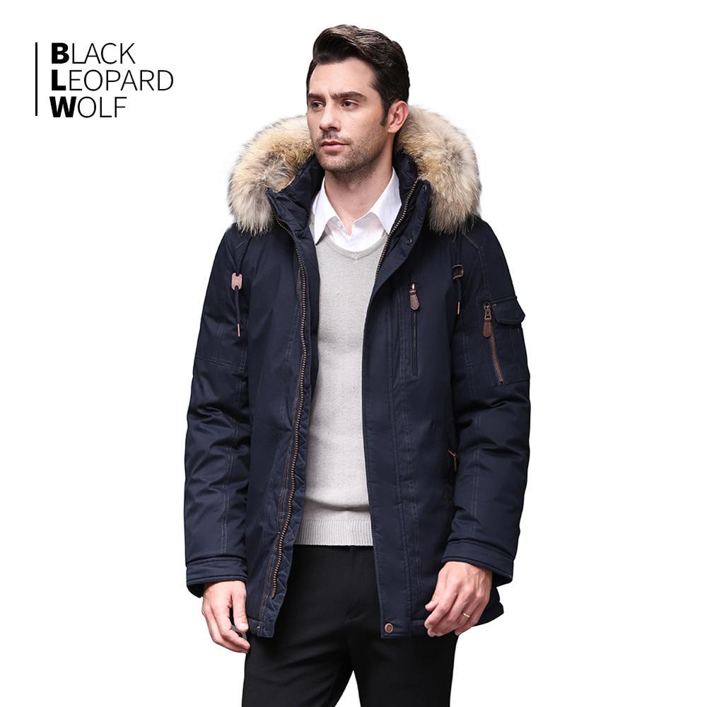 Blackleopardwolf 2019 Winter Jacket Men Winter Fashion Parka Detachable New Long Alaska Coats With Fur Raccoon BL-6601