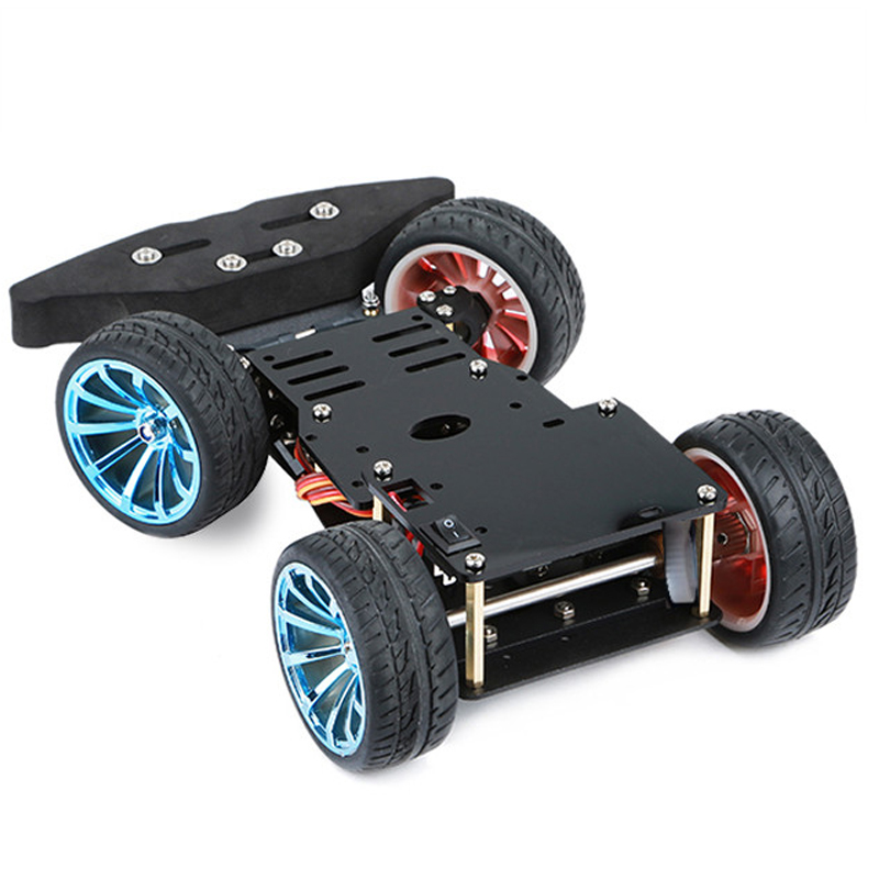 4WD Smart Steering Robot Car Chassis With Metal Servo Bearing Kit Gear Motor 25MM Robot Platform DIY Kit For Arduino