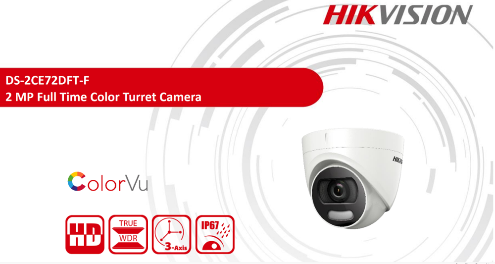 Hikvision 2MP ColorVu Fixed Turret Camera DS-2CE72DFT-F Full Color Imaging HD TVI Camera CCTV Camera 20m White Light Distance