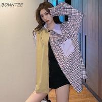 Shirts Frauen Freizeit Patchwork Lose Lange Hülse Herbst Student Blusen Stilvolle Harajuku Straße Alle-spiel Streetwear Koreanische Top