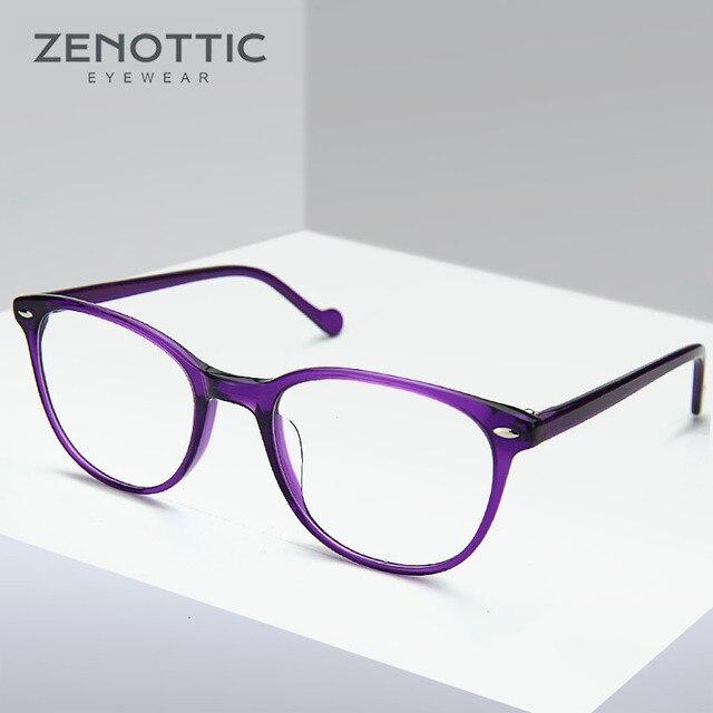 Zenottic Paars Retro Bril Frame Vrouwen Optische Clear Brillen Frame Bijziendheid Verziendheid Vintage Bril Frame