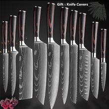 Japońskie noże kuchenne ze stali nierdzewnej Laser Damascus wzór Chef Santoku Cleaver narzędzie do krojenia Gyuto noże do odkostniania narzędzia