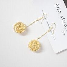 Fashion Long Earrings Ball Geometric Earrings for Women Hanging Dangle Earrings Drop Gold Earrings Modern Earrings Jewelry golden statement earrings 2018 ball geometric earrings for women round dangle earrings drop modern art fashion party jewelry