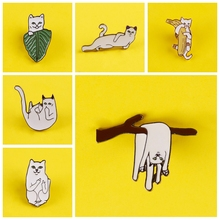 Soft White Cats Brooch Badges for Clothes Cute Animal Enamel Pins for Backpacks Clothes Lapel Pin Badges on Backpack Badge Decor leisurely cute cats badges for clothes animal enamel pins for backpacks clothes lapel pin badges for backpack badge jewelry gift