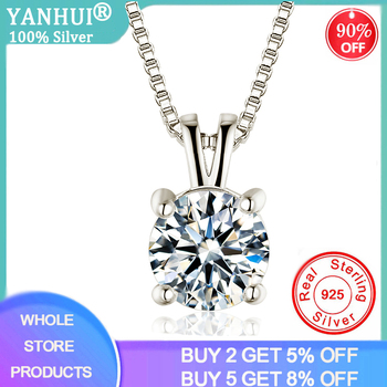 2ct Lab Diamond Solitaire Pendant Necklace 925 Sterling Silver Choker Statement Necklace Women Silver 925 Jewelry With Box Chain natural amethyst pendant necklace 925 sterling silver gemstone choker statement necklace women silver 925 jewelry no chain