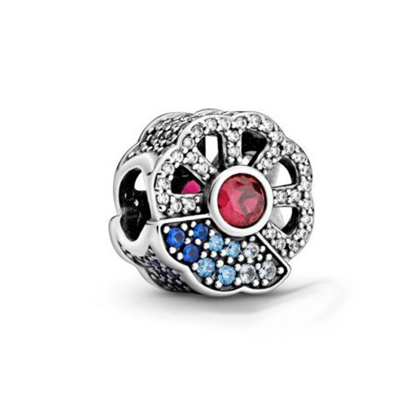 Colgante de plata de ley 2020 925 con colgante de abanico azul y rosa compatible con pulseras Pandora originales para mujer, joyería DIY