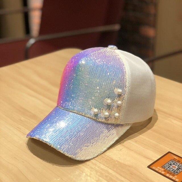 women summer snapback hat sequins pearls baseball hat net sunshade hat glittering fashion baseball hat 2020 new