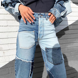 Kliou Patchwork Pockets Street Style Fashion Women Jeans Club 2020 Autumn High Waist Demin Pants Color Matching Long Trousers