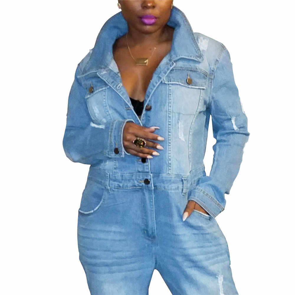 Maoxzon Womens Fashion Ripped Washed Long Jeans Jumpsuits Overalls For Ladies Spring Sexy Loose Denim One Piece Pants