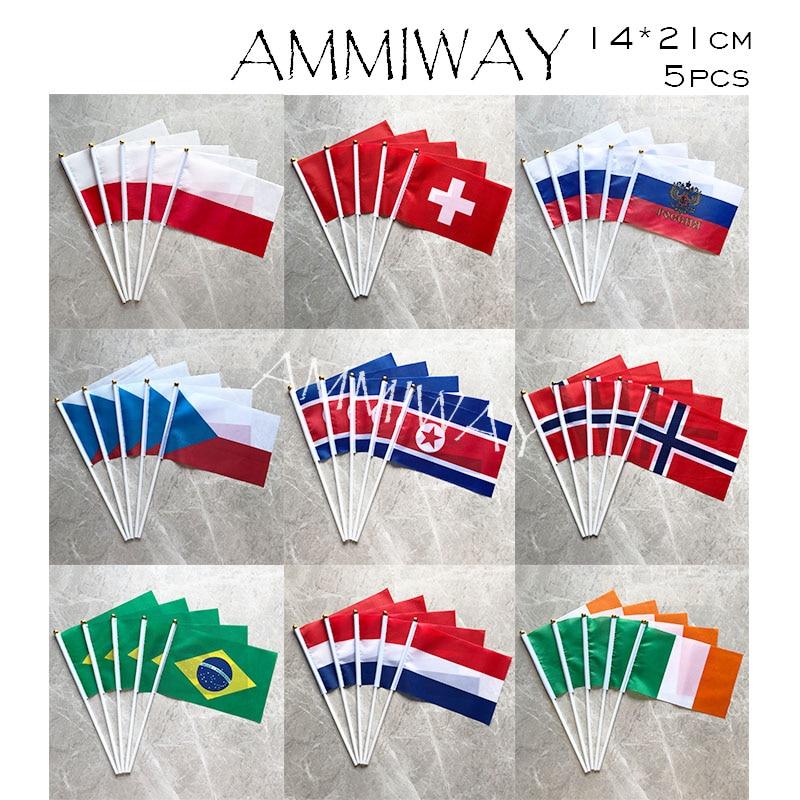 AMMIWAY 14x21cm 5pcs Poland Switzerland Russia Czech Republic Small Hand Flag North Korea Norway Brazil Netherlands Ireland Flag(China)