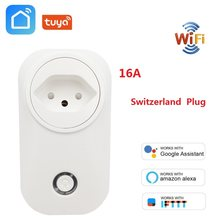 Swiss Plug Wifi Smart Socket Wireless CH Outlet Tuya Kehidupan Cerdas Aplikasi 16A Power Monitor untuk Alexa Google Home Ifttt(China)