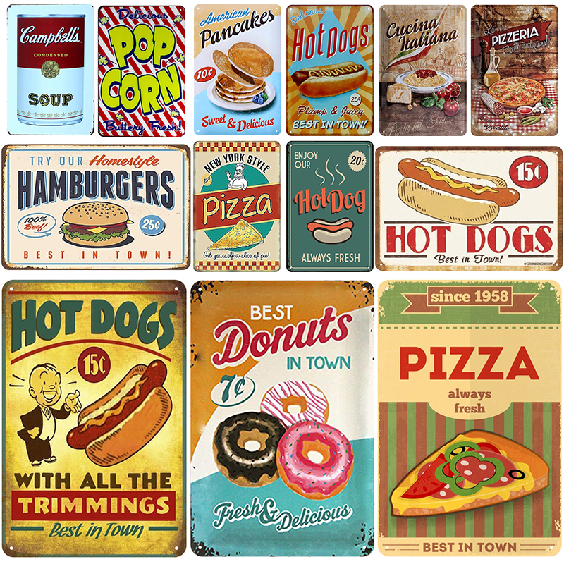 Hot Dogs Plaque Metal Vintage Tin Sign Pin Up Shabby Chic Decor