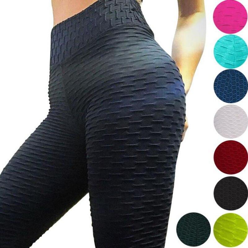 Модные женские сексуальные пуш-ап Леггинсы для женщин фитнес-брюки с высокой талией спортивные Леггинсы черного цвета размера плюс антицел...