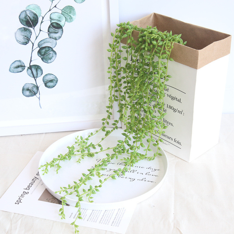 Artificial Hanging Plants Flower Fake Succulents String Of Pearls Green Vine Ivy