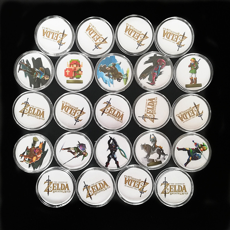 NEW 2020 A set/24pcs The Legend of <font><b>Zelda</b></font> Breath of the Wild NFC Collection Coin Tag Of <font><b>Amiibo</b></font> Circular <font><b>Card</b></font> Ntag215 Tag image