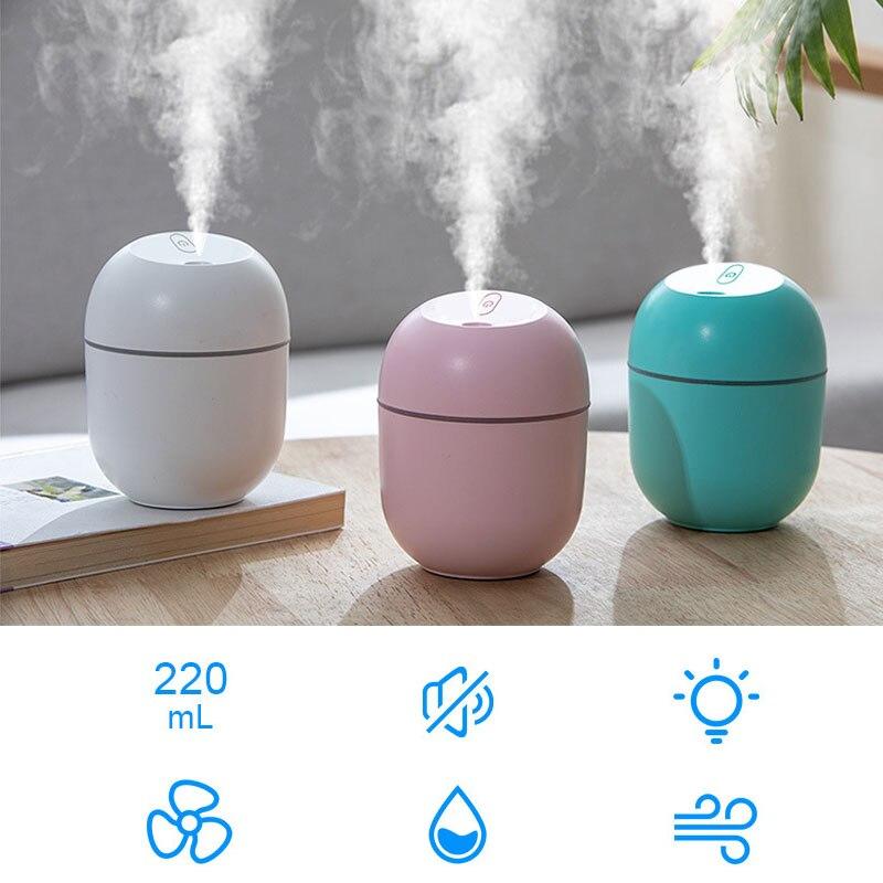 Mini Air Humidifier Ultrasonic Mist Maker USB Essential Oil Diffuser Night Lamp
