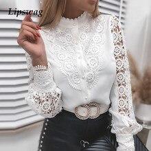 2021春秋のエレガントな刺繍レースブラウスシャツ女性カジュアルボタン長袖の女性のセクシーなvネックパッチワークblusaトップス