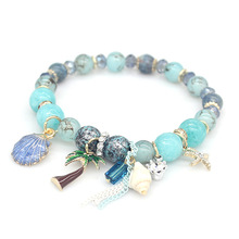 Misheng 2019 Original Pink Colorful Crystal Womens Beads Bracelet shell Natural Stone Hawaii Beach Style String DIY Accessories