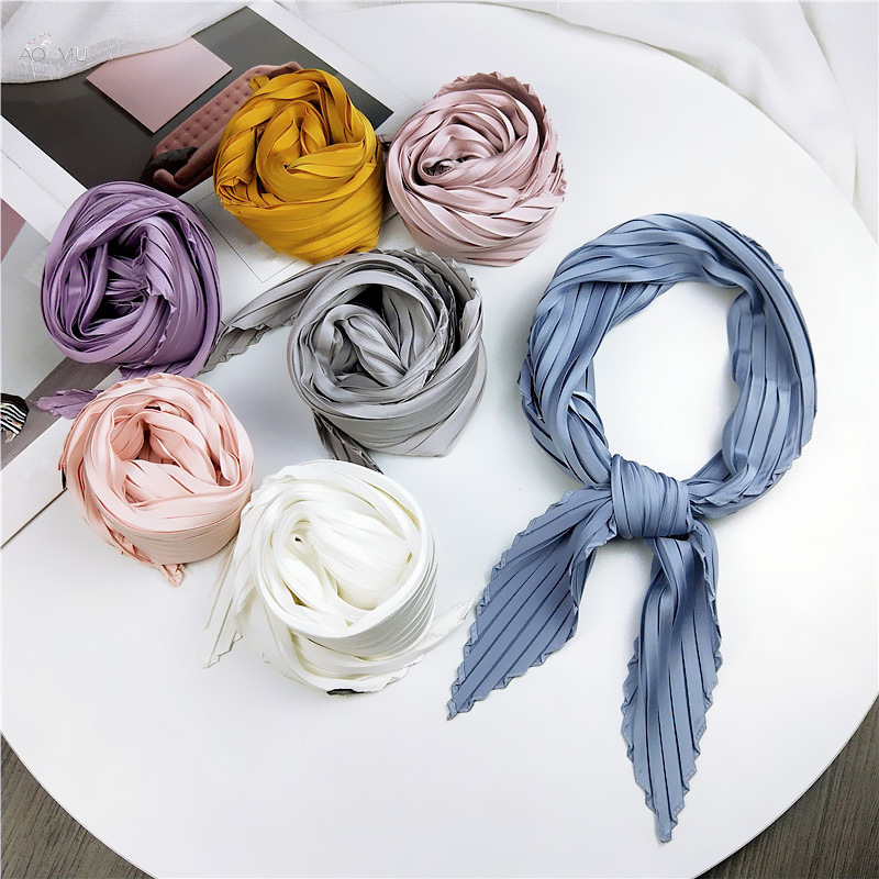 AOMU 2019 New Fold Design Solid Color Women Twill Silk Scarf Small Square Scarves Fashion Vintage Hijab Headband Neck Tie