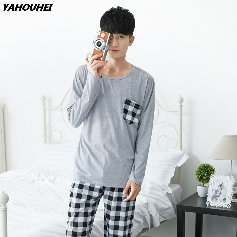 Plus Size Thin Cotton Casual Plaid Pajamas Sets For Men 2018 Autumn Winter Long Sleeve Pyjamas Male Homewear Lounge Home Clothes