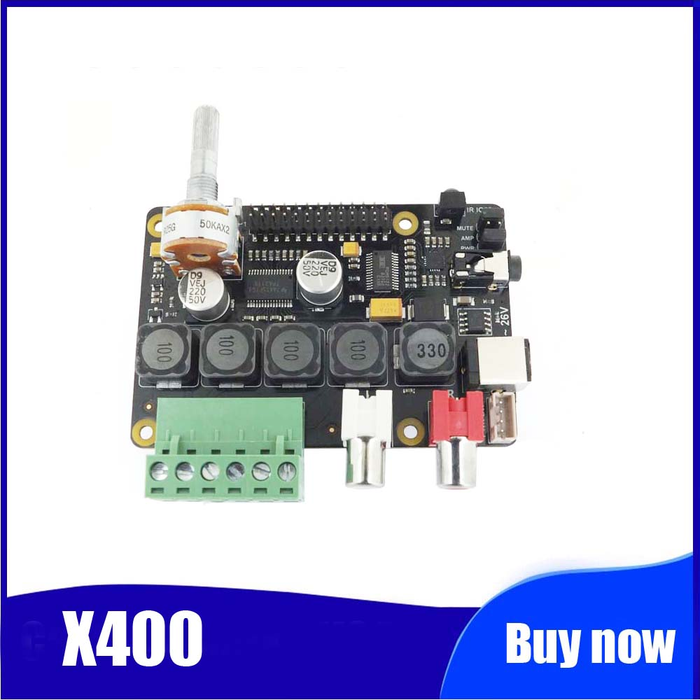 Raspberry Pi DAC Full-HD Class-D Amplifier I2S PCM5122 X400 Audio Expansion Board Raspberry Pi 3 Model B+ Music Player