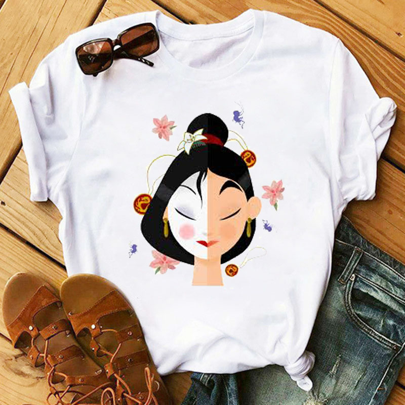 Plus Size Cartoon Women T-shirts 2020 Fashion Mulan Princess T-shirts Print Tee Shirt Harajuku Kawaii Streetwear Tshirt Clothes