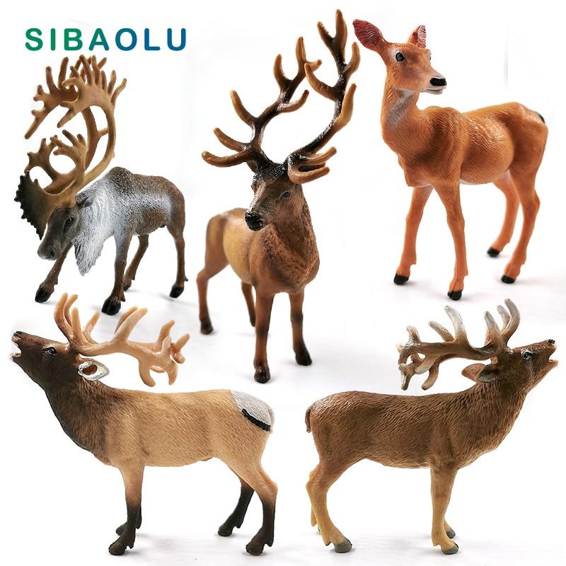New Sika Deer Reindeer Elk Figurine Simulation Animal Model Diy Home Decor Miniature Fairy Garden Decoration Accessories Modern