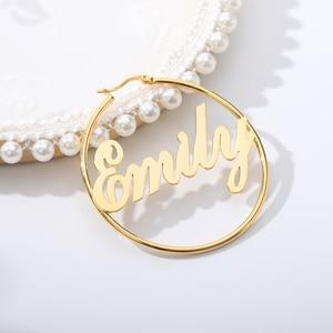 Stainless Steel Custom Name Hoop Earrings For Women Girls Personalized Big Nameplate Handmade Jewelry Round Circle Oorbellen BFF