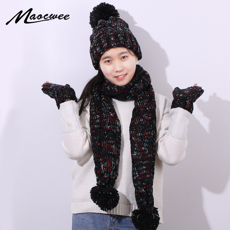 Three-piece Set Scarf Hat And Gloves Winter Warm Women Crochet Skullies Beanies PomPon Ball For Knitting Autumn Striped Cap